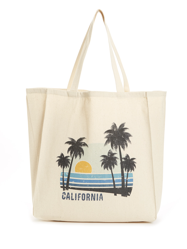 California - Vintage - Beach Sunset - Cotton - Tote Bag