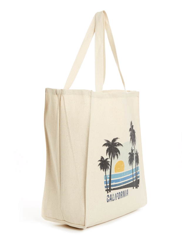 California - Vintage - Beach Sunset - Cotton - Tote Bag - side view