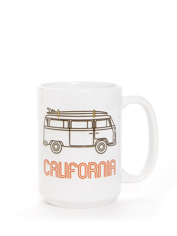 California - Vintage - VW Bus Surfboard - White Coffee Cup
