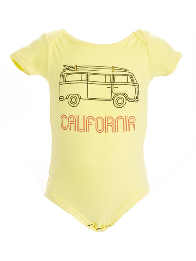 Infants - California - Vintage - VW Bus Surfboard - Yellow Onesie