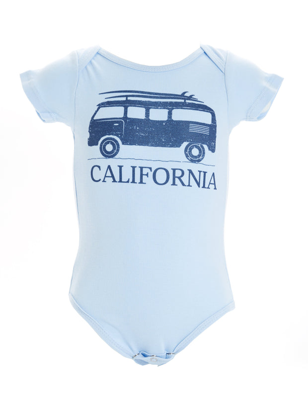 Infant's - California - Vintage - VW Bus Surfboard - Blue Onesie