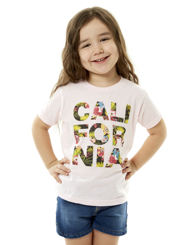 Kids - California - Tropical Flowers - Light Pink T-shirt