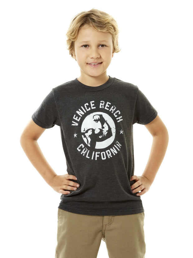 Kids - Muscle Beach - Venice Beach - California - Black T-shirt