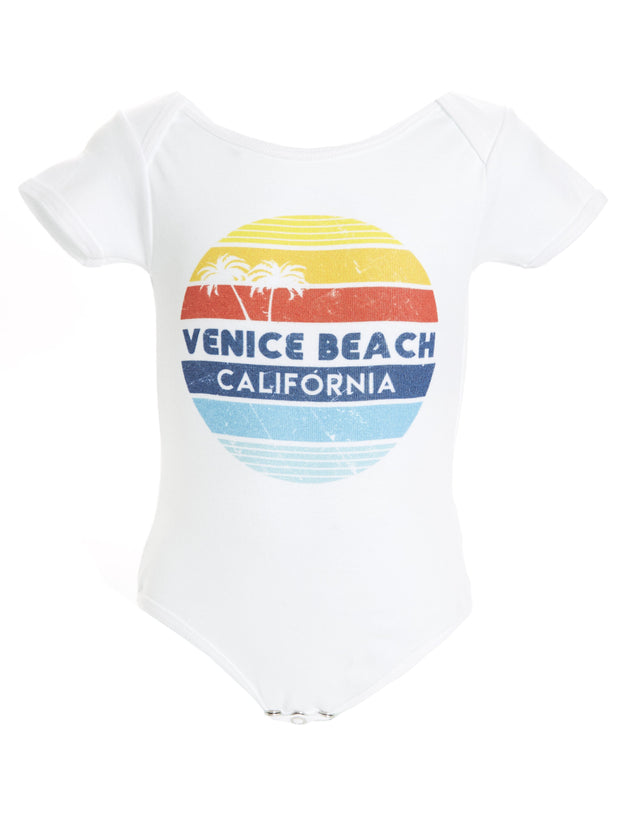 Infant's - Venice Beach - California - Retro Circle Sunset - White Onesie