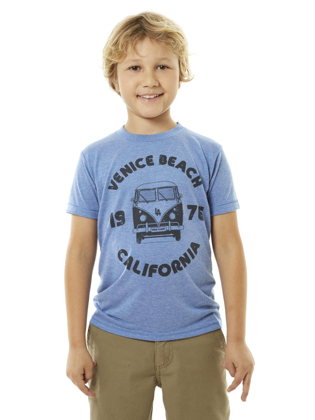 Kids - Venice Beach - California -Retro - VW Bus - White Baseball Tee