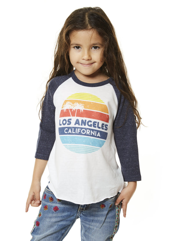 Kids - Los Angeles - California - Circle - White and Navy Baseball Tee