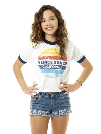 Kids -  Venice Beach - California - Retro Circle Sunset - White and Navy Ringer Tee