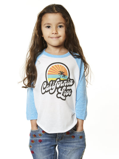 Kids - California - Love - White and Light Blue Baseball Tee