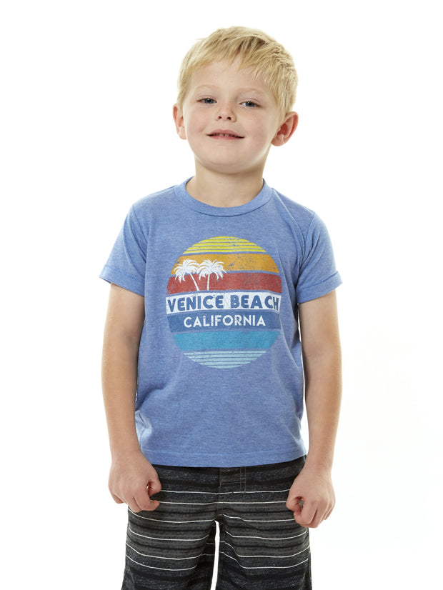 Kids - Venice Beach - California - Retro Circle Sunset - Blue T-shirt