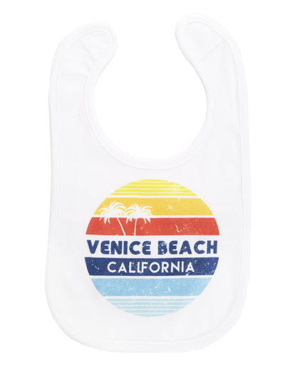 Infant's - Venice Beach - California - Retro Circle Sunset - White Bib