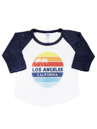 Kids - Los Angeles- California - Retro Circle Sunset - White and Navy Baseball Tee