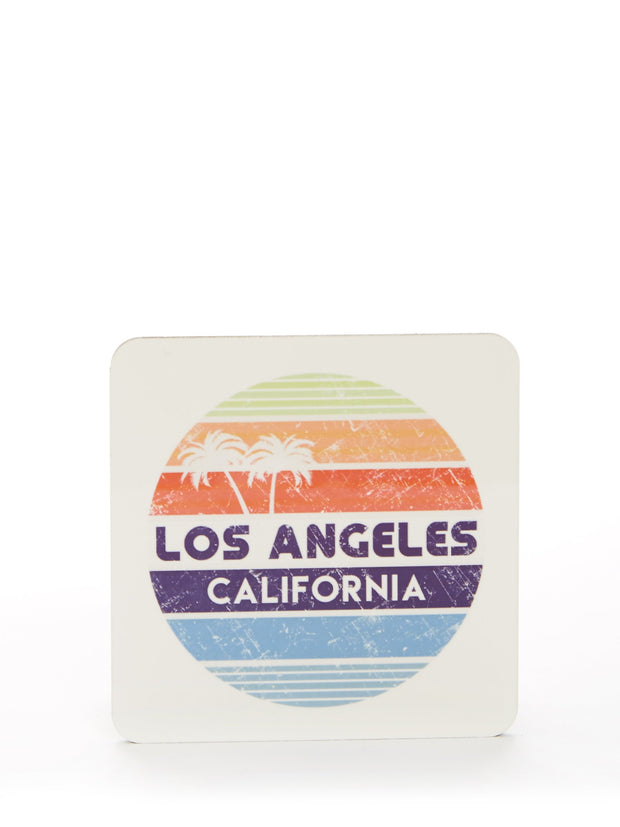 Los Angeles - California - Vintage - Circle - White Coaster 4 Pack