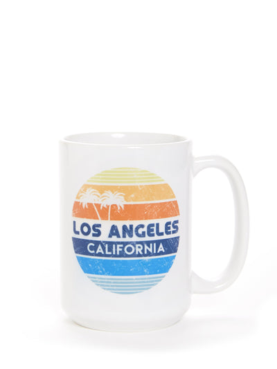 Los Angeles - California  - Retro Circle Sunset - White Coffee Cup