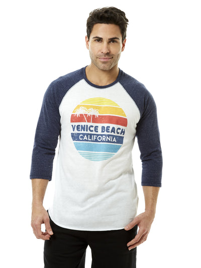 Men's - Venice Beach - California - Retro Circle Sunset - White and Navy Baseball Tee