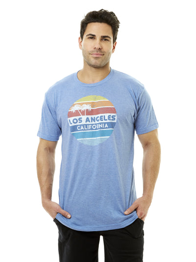 Men's - Vintage - Los Angeles - California - Circle - Blue - T-shirt