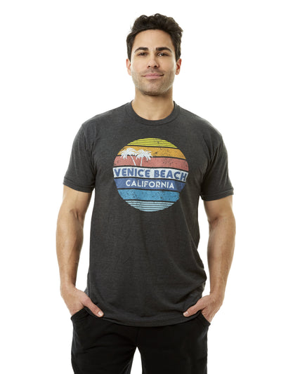 Men's - Venice Beach - California - Retro Circle Sunset - Black T-shirt