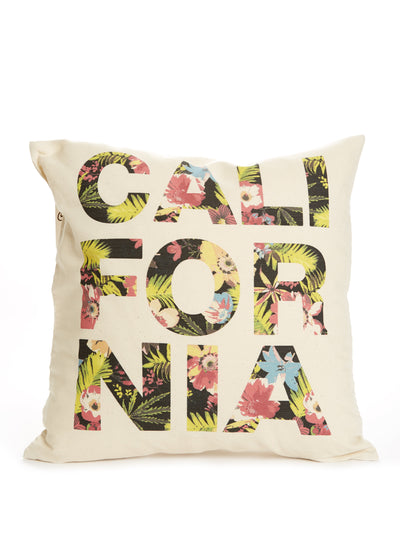 California - Tropical Flowers - Beige Pillow Case