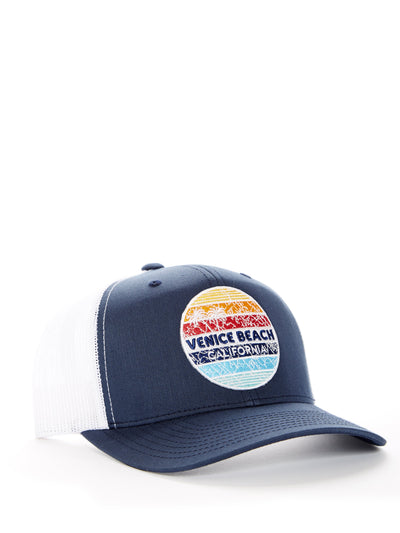 Venice Beach - California - Retro Circle Sunset - Blue and White Baseball Hat