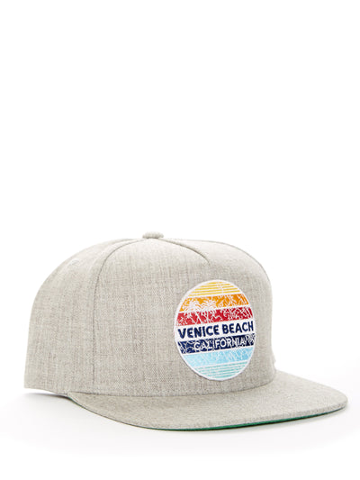Venice Beach - California - Retro Circle Sunset - Grey Baseball Hat