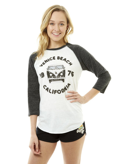 Women's - Venice Beach - California -Retro - VW Bus - White Baseball Tee