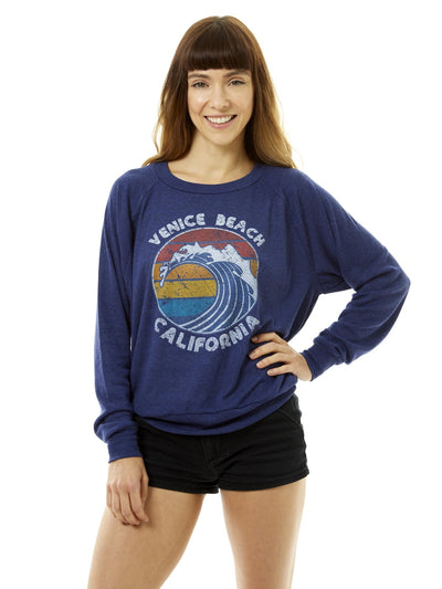 Women's - Retro Sunset - Venice Beach - California - Wave - Blue Raglan