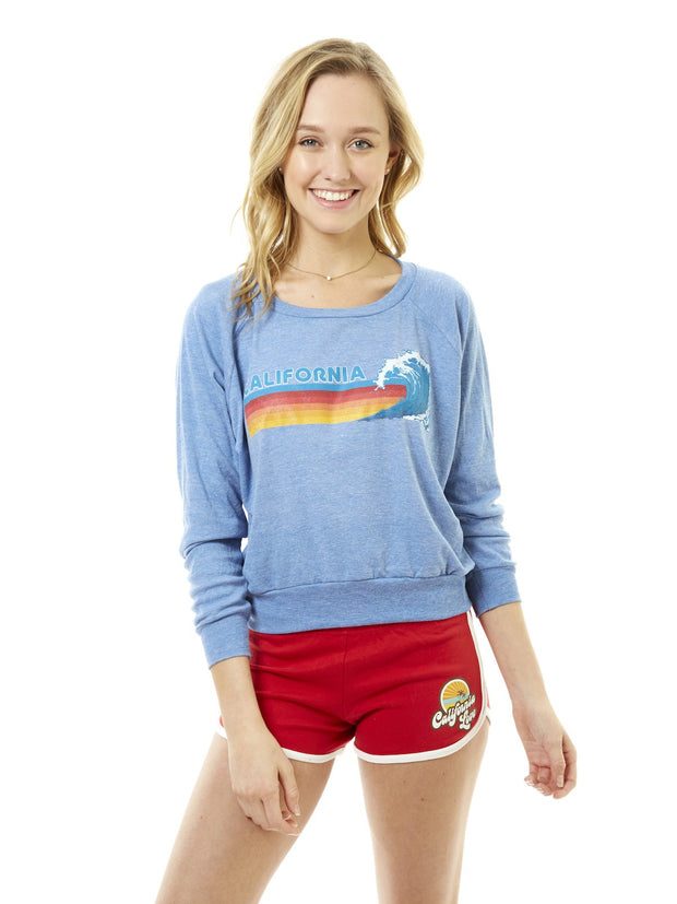 Women's - Retro Sunset Stripes - California - Wave - Light Blue Raglan