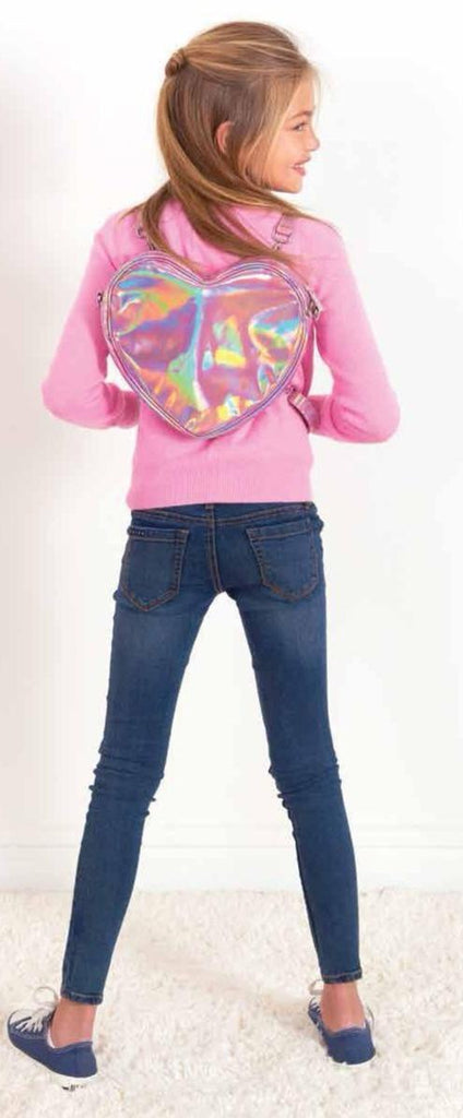 Iscream Pink Holographic Heart Backpack/Crossbody Bag w/Pom Poms - gigisbabyboutique