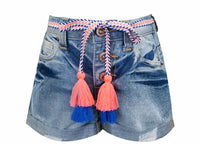 Hannah Banana Basic Denim Shorts w/ Tassel Belt