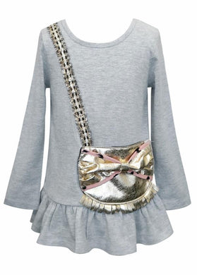 Baby Sara Long Sleeve Ruffle Hem Tunic w/Metalic Gold Faux Leather Purse Detail