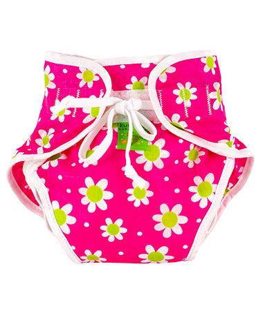 Kushies Reusable Swim Diaper - Daisy/Fuchsia
