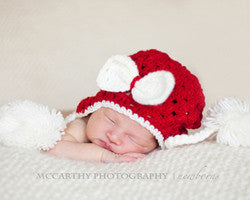 Daisy Baby Hat-Red w/White Bow & Poms-Ellie May - gigisbabyboutique