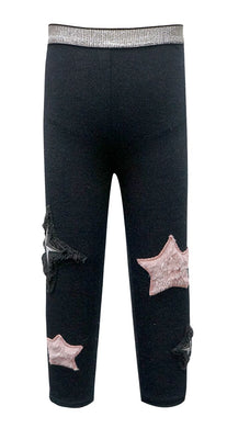 Baby Sara Heather Black Leggings w/Faux Fur Stars & Patch