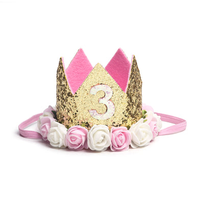 Sweet Wink Floral Birthday Crowns - 3rd Birthday
