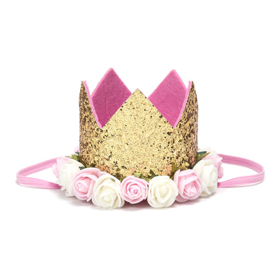 Sweet Wink Floral Birthday Crowns - Gold