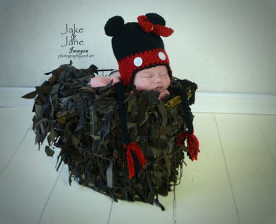 Daisy Baby Hat-Black & Red Mouse w/ Bow- Thelma - gigisbabyboutique