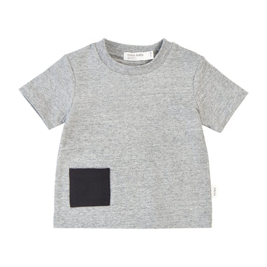 Miles Baby Dark Heather Gray T-shirt w/Black Pocket