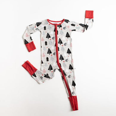 Little Sleepies Bamboo Convertible Romper/Sleeper - Christmas Trees