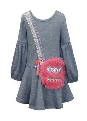 Baby Sara Charcoal Long Sleeve Dress w/Faux Fur Monster Purse