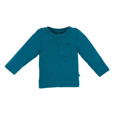 Kic kee Pants Solid Long Sleeve Easy Fit Crew Neck Tee w/Pocket - Heritage Blue
