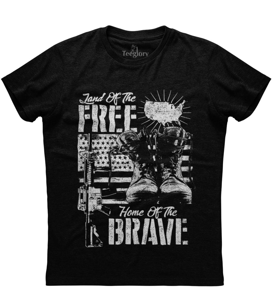 Land Of The Free Home of The Brave BW T-shirt