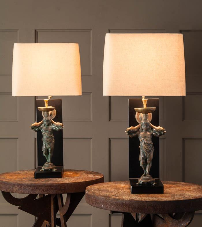 Pair of Cherub Fountain Lamps