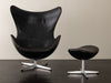 ARNE JACOBSEN FIRST EDITION EGG CHAIR AND OTTOMAN, FRITZ HANSEN, DENMARK, C1958