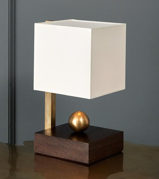Brass Ball Wenge Boudoir Table Lamp