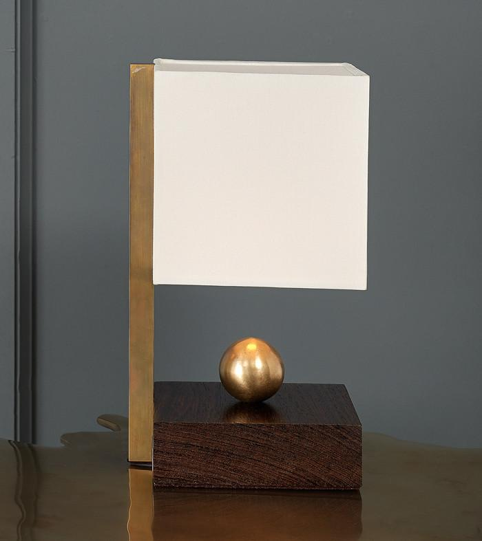 Brass Ball Wenge Boudoir Table Lamp By Lika Moore