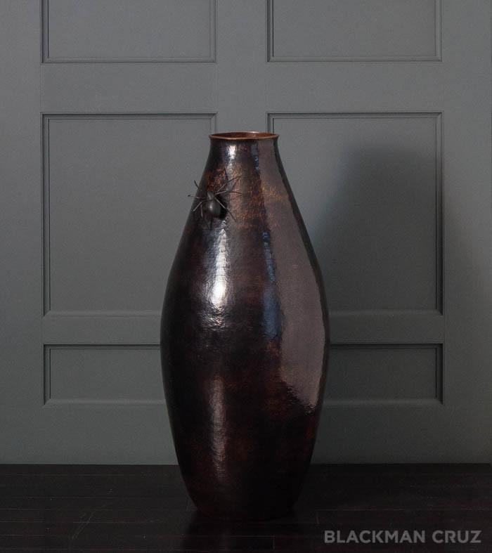 Tall Copper Vase with Spider