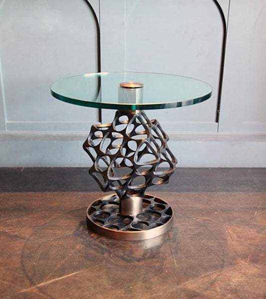 Beehive Wrought Iron and Brass Table