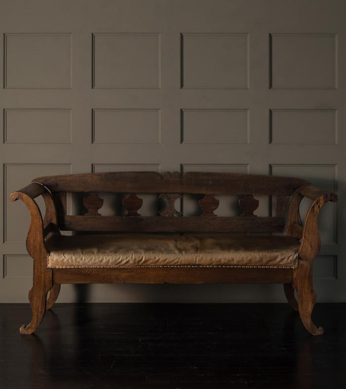 Biedermeier leather upholstered convertible bench / settee - Biedermeier Leather Upholstered Convertible Bench / Settee