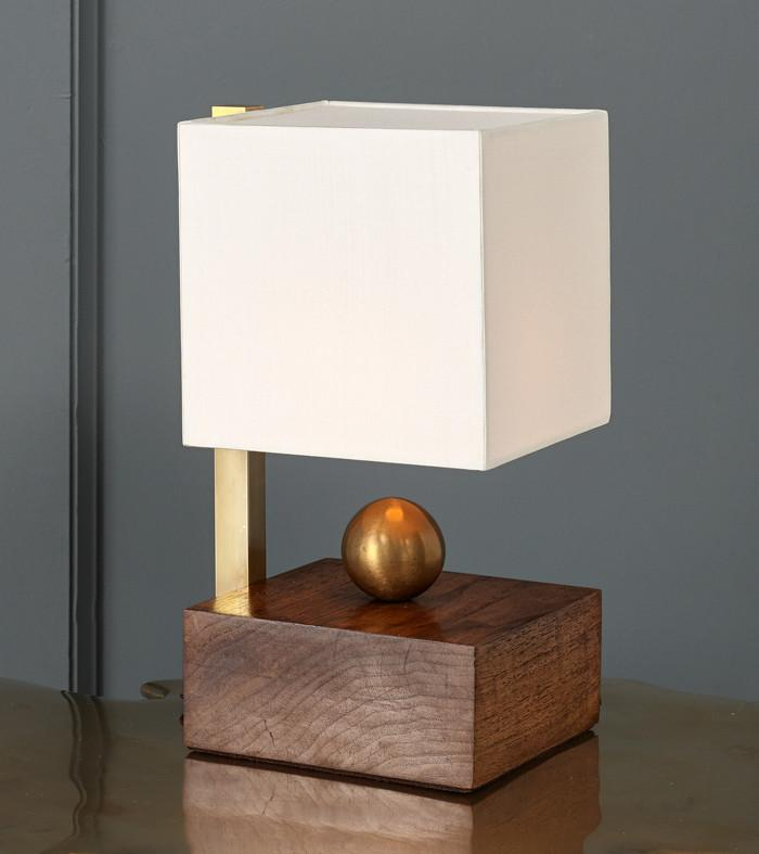 Brass Ball Walnut Boudoir Table Lamp