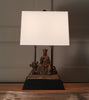 BUDDHIST DEITY, GUAN YIN UPON UNICORN TABLE LAMP