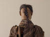 CARVED FIGURE OF JAPANESE MAN WITH HUMAN HAIR